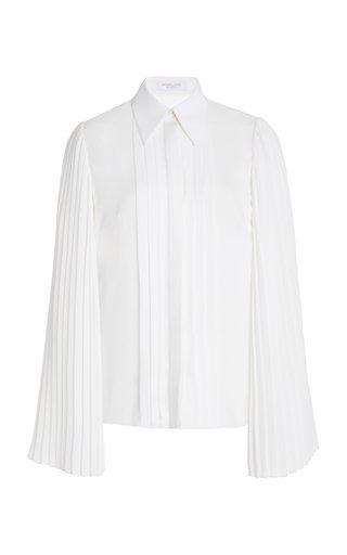 Pleated Silk-Georgette Blouse