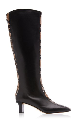 Ophelia Snake-Effect Leather Knee-High Boots