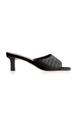 Katti Croc-Embossed Leather Sandals