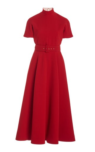 Camilla Belted Pleated Crepe A-Line Dress