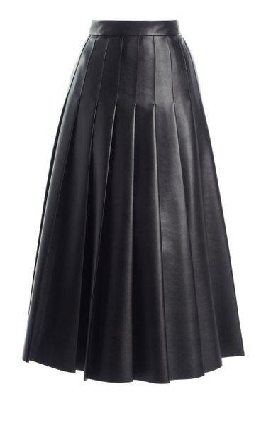Gretchen Pleated Faux Leather Skirt