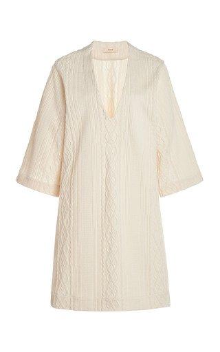 V Neck Textured Knit Dress