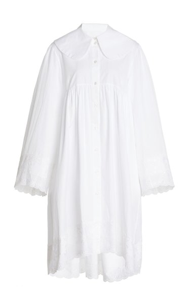 Oversized Broderie Anglaise-Trimmed Cotton-Poplin Tunic