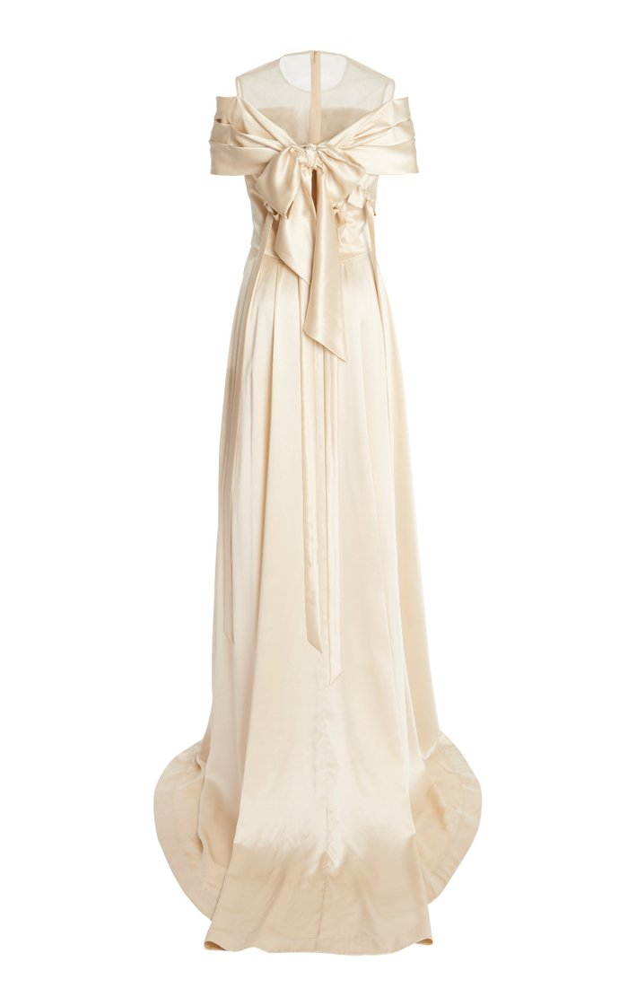 Bow-Embellished Off-The-Shoulder Silk Gown