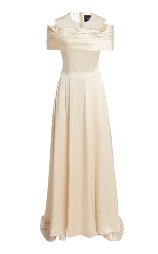 Bow-Embellished Off-The-Shoulder Silk Gown
