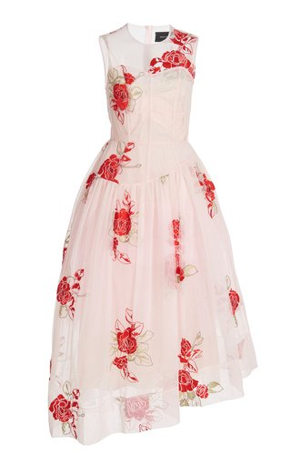 Floral-Embroidered Asymmetric Tulle Dress