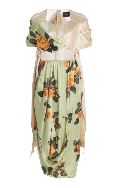 Floral-Print Silk Wrap Dress