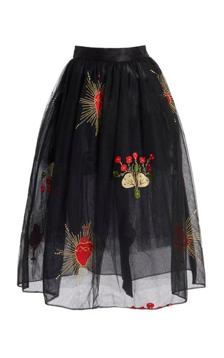 Draped Tulle Midi Skirt