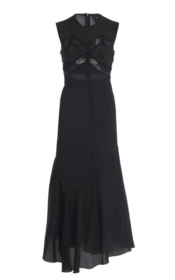 Lace-Detailed Silk Slip Dress