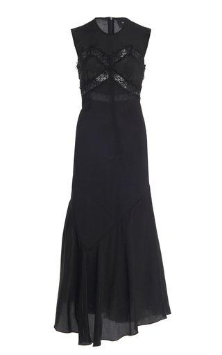 Lace-Detailed Silk Slip Dress