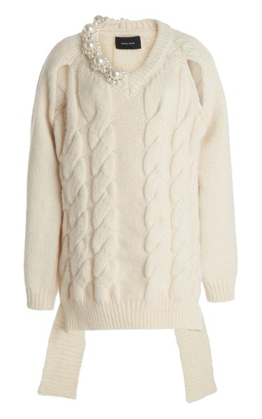 Beaded Alpaca-Blend Cable-Knit Sweater