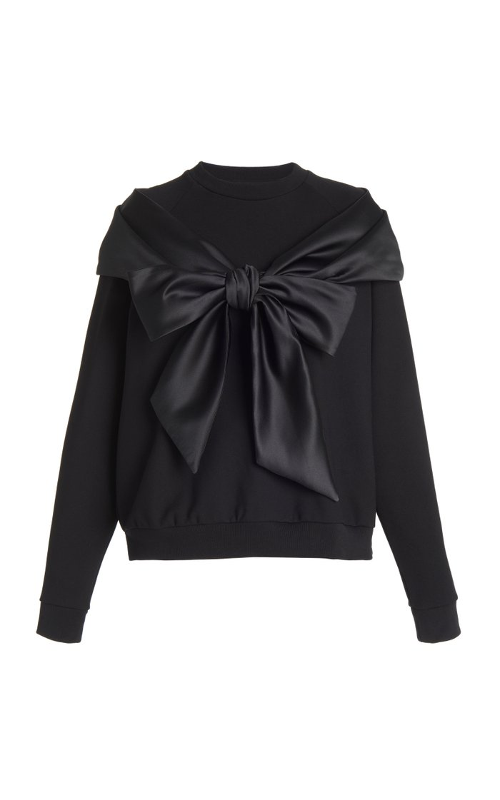 Bow-Embellished Satin and Jersey-Knit Top