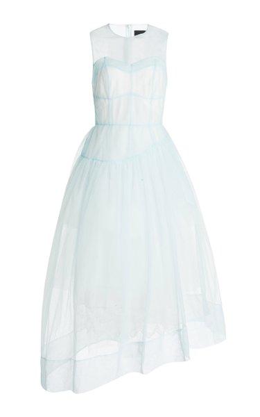 Asymmetric Sheer Tulle Corset Dress