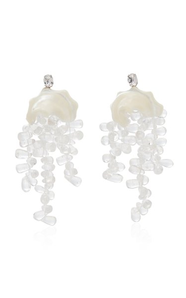 Silver-Tone, Resin And Crystal Earrings