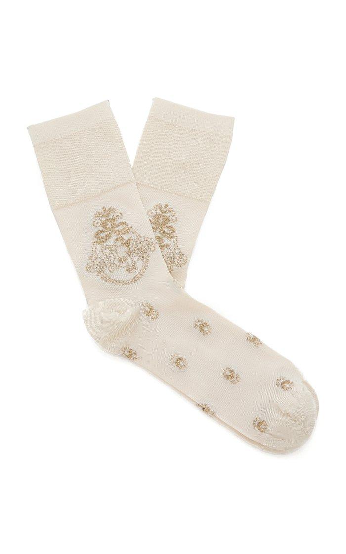 Ribbed Intarsia-Knit Socks
