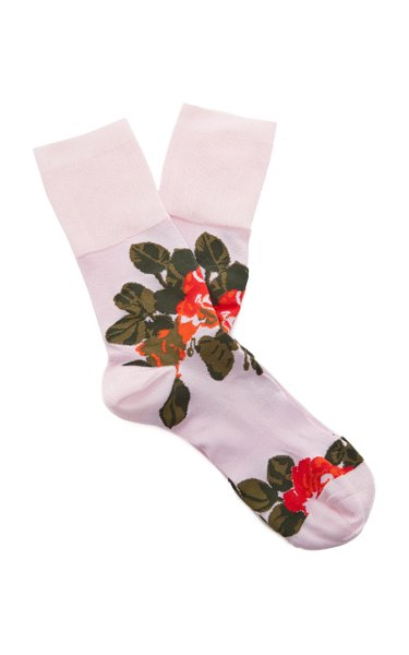 Rose Print Jacquard Socks