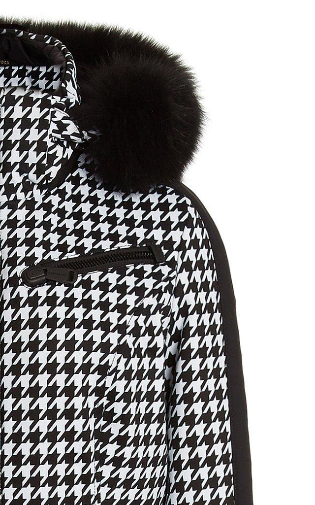 France Fur-Trimmed Houndstooth Down Ski Suit