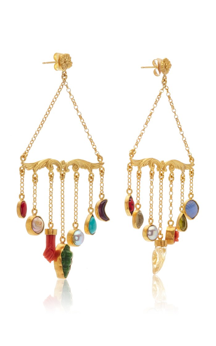 Ornamental Scroll Chain Charm Earrings
