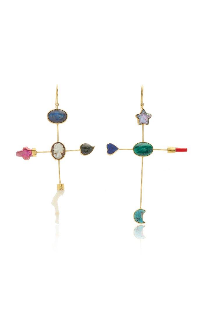 Lapis Cross Earrings