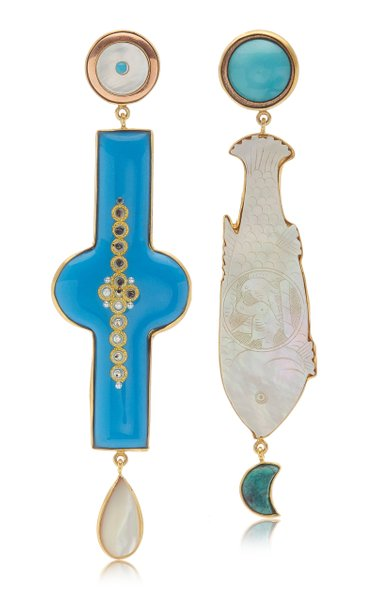 Antique Enamel and Fish Earrings