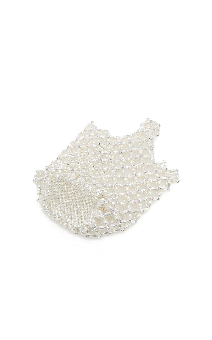 Small Beaded Pearl Shopper Tote