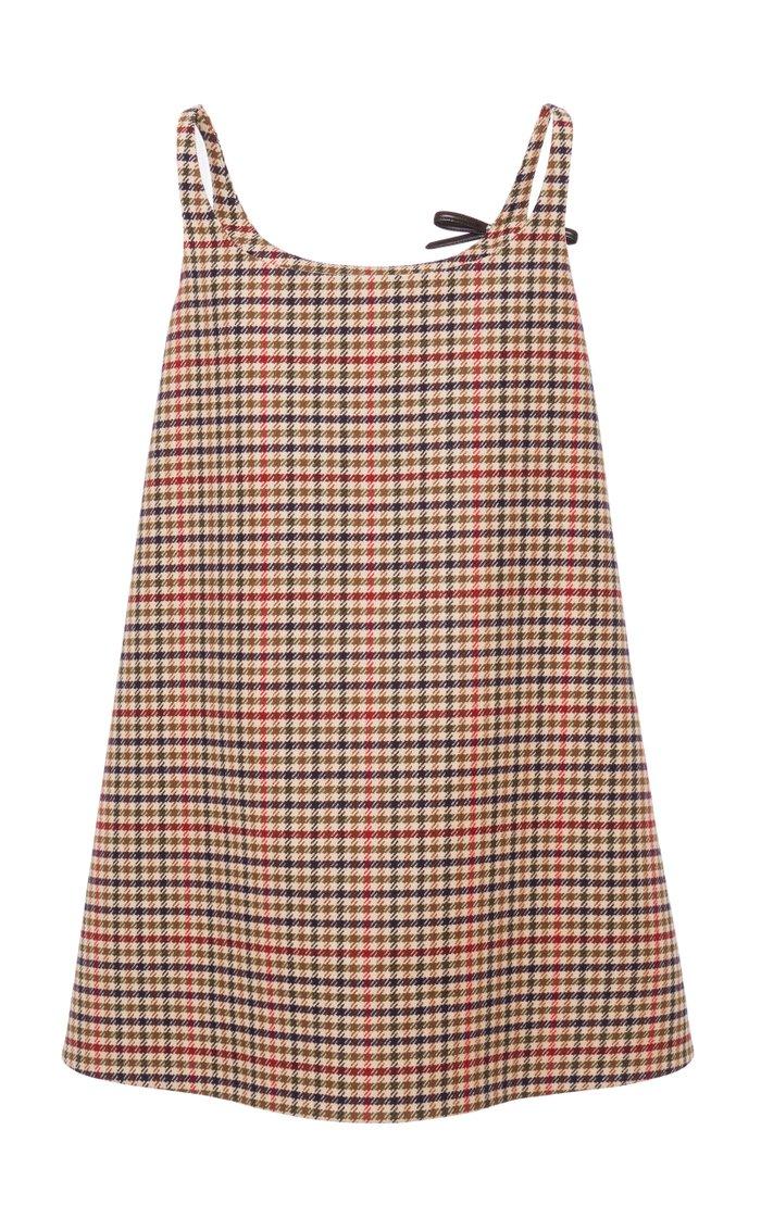 Appliquéd Checked Wool Mini Dress