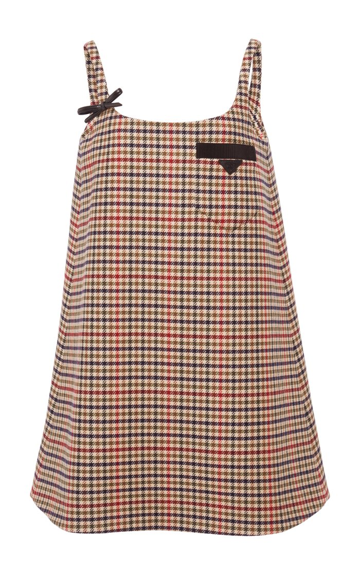 Appliquéd Checked Wool Mini Dress