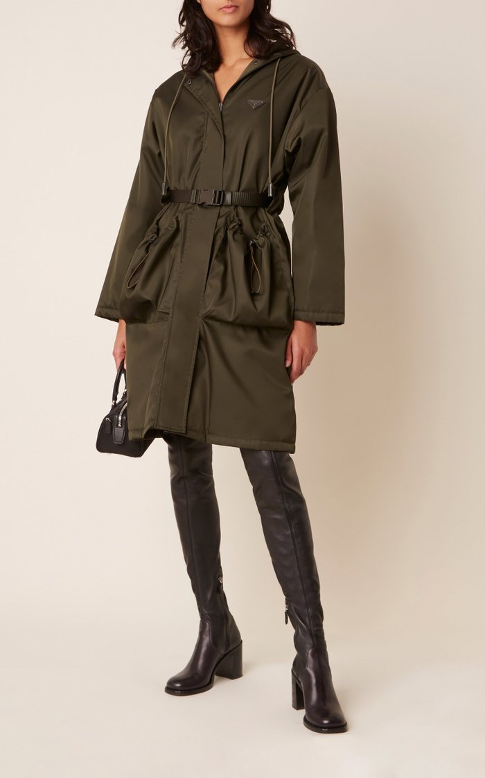 Oversized Belted Tech-Nylon Coat