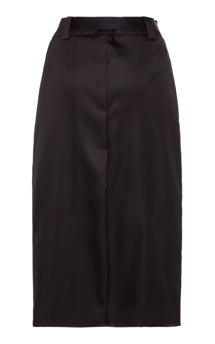 Belted Wrap-Front Midi Skirt