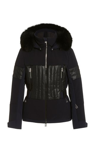 Aggi Fur-Trimmed Leather-Paneled Ripstop Ski Jacket