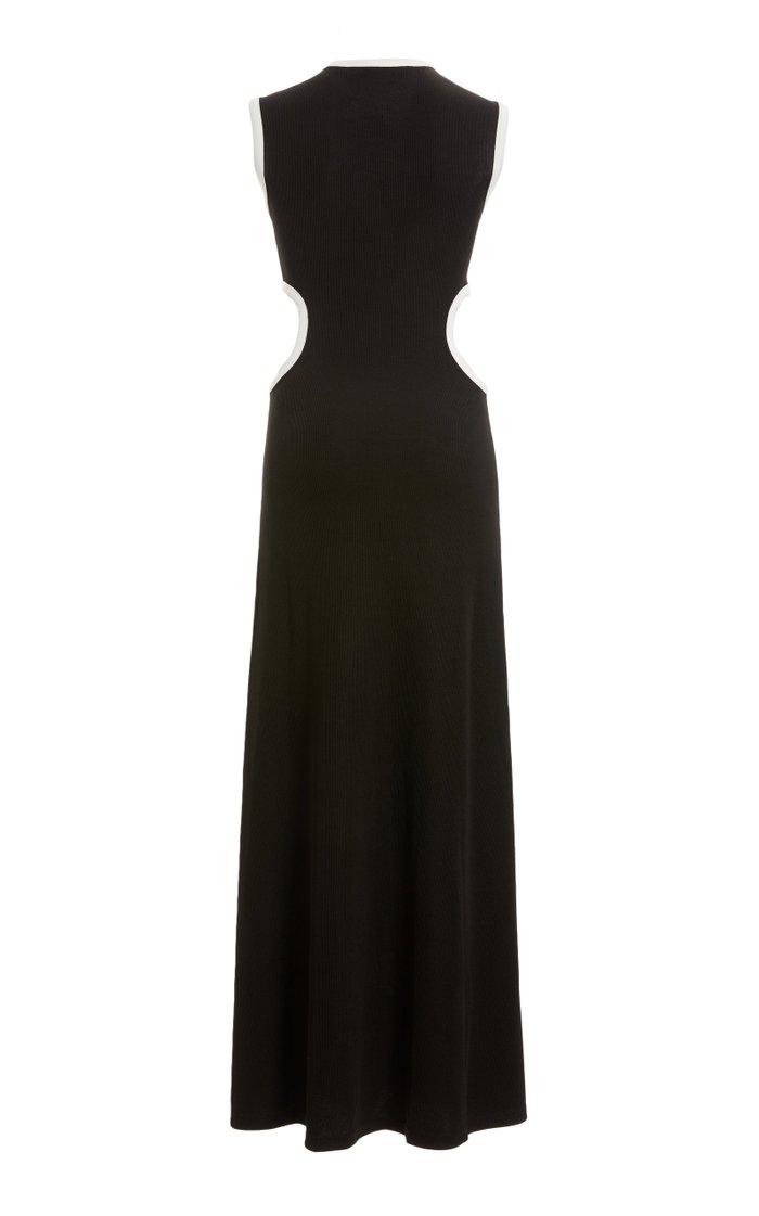 Fran Two-Tone Cutout Stretch-Jersey Maxi Dress