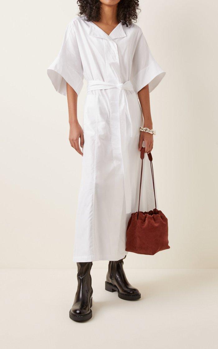 Small Drawstring Suede Crossbody Bag
