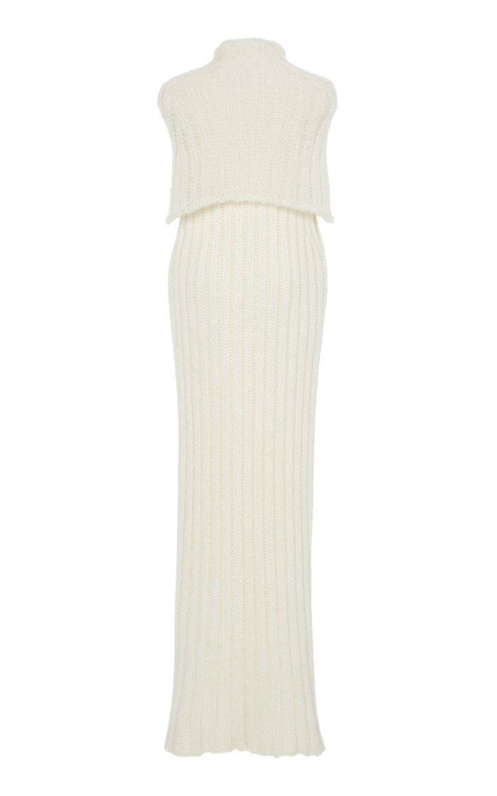 Layered Wool Maxi Turtleneck Sweater Dress
