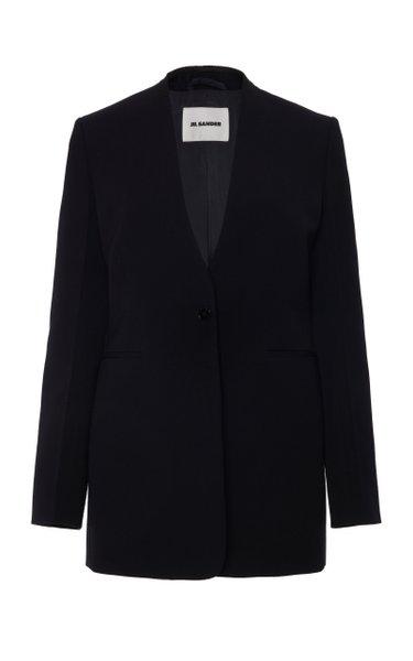 Collarless Wool Blazer