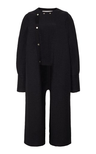 Pinstriped Silk Jacket With Detachable Sleeves