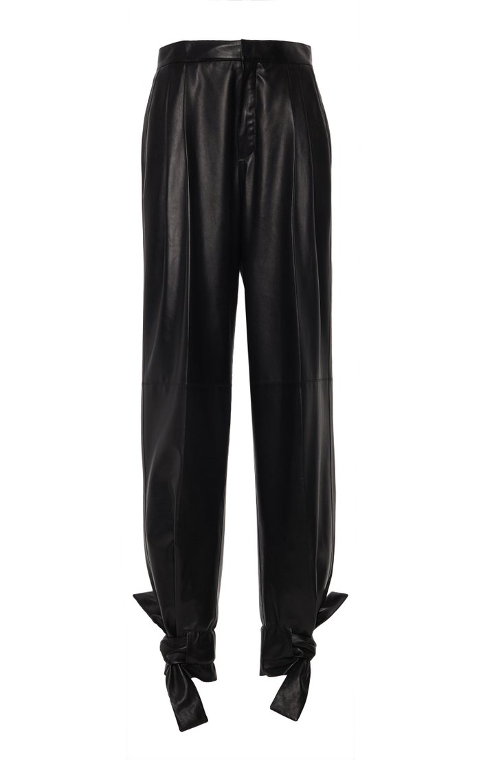 Tapered-Leg Leather Pants