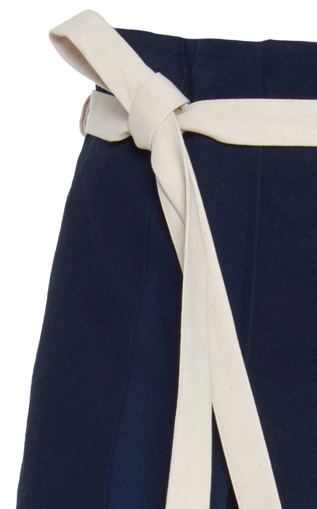 High-Rise Color-Block Cotton Skirt