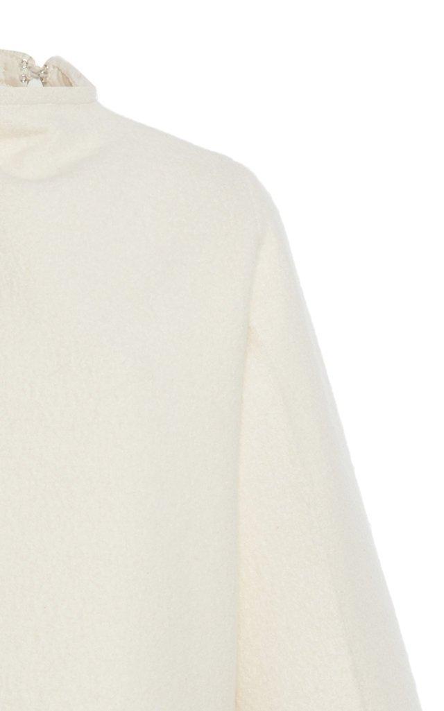 Draped Plissé Cotton-Wool Top