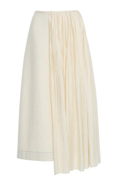 Draped Plissé Cotton-Wool Midi Skirt