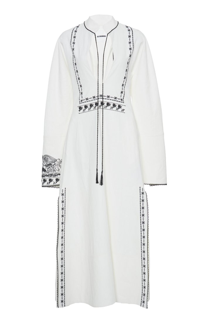 Embroidered Linen Caftan