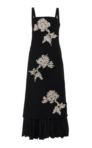 Embroidered Silk-Blend Dress