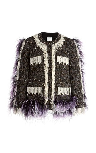 Cecil Feather And Faux Pearl Embellished Tweed Jacket
