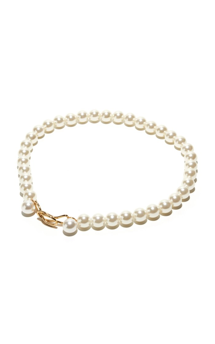 14K Gold-Plated Brass and Pearl Belt