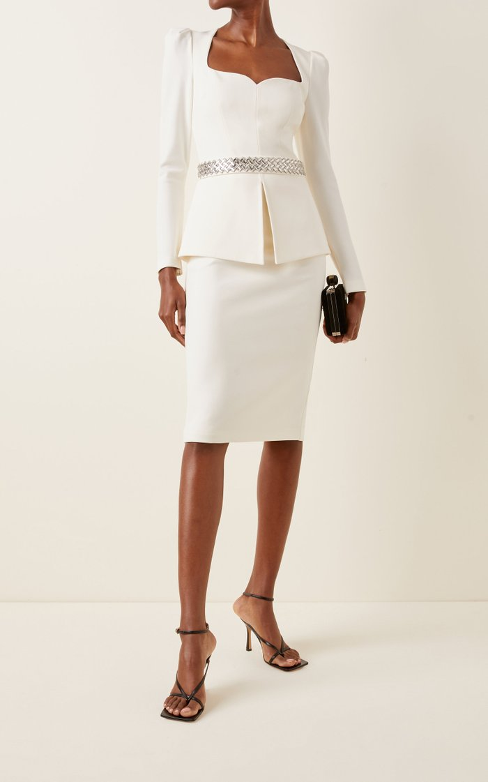 Exclusive Belted Heavy Crepe Cocktail Dress