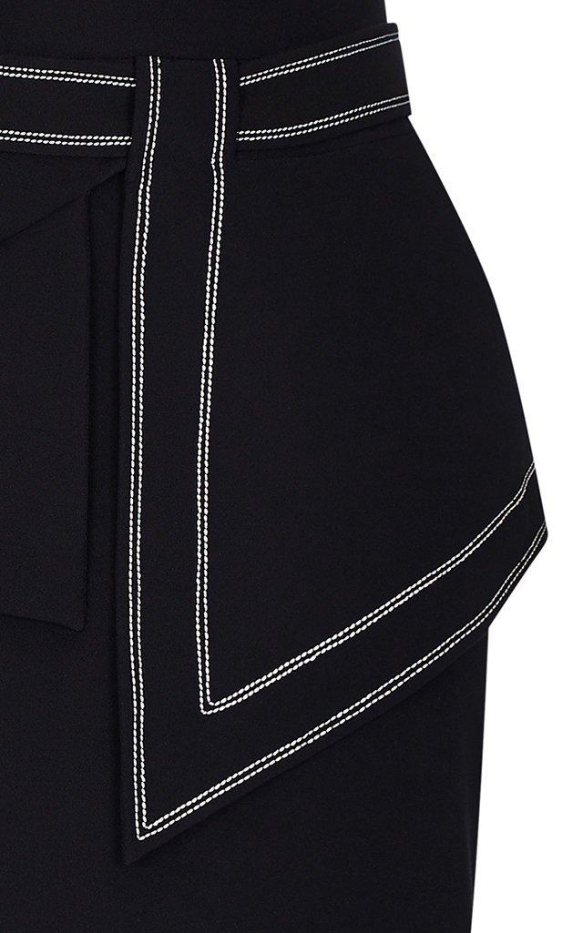 Peplum-Detailed Stretch-Crepe Midi Dress