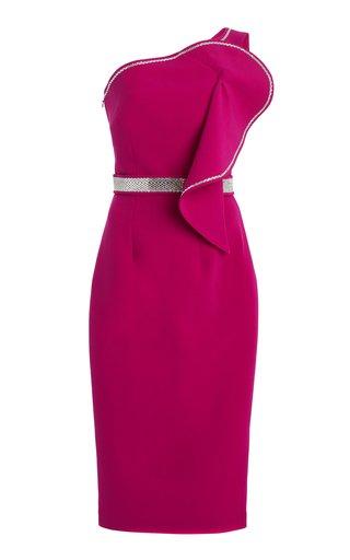 Exclusive Bonita Rhinestone-Trimmed Crepe Midi Dress