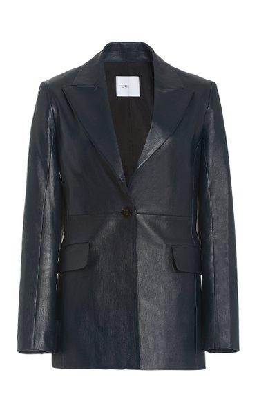 Single-Breasted Lambskin Leather Blazer
