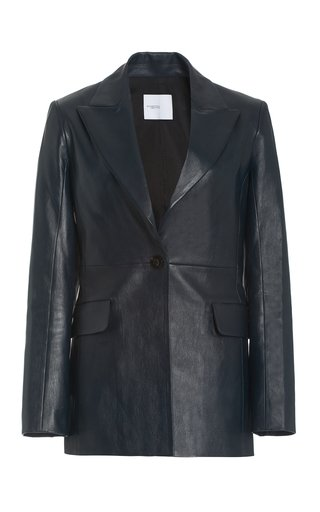Single-Breasted Lambskin Leather Blazer