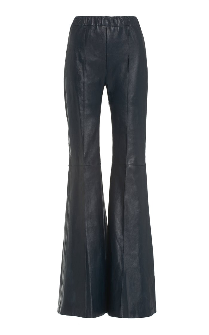 Pin-Tucked Leather Flared-Leg Pants