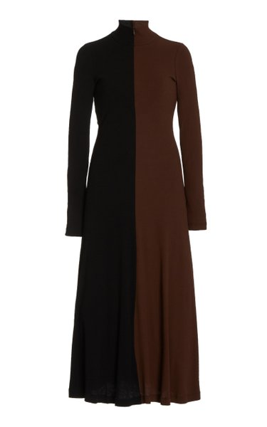 Exclusive Two-Tone Knit Midi Dress